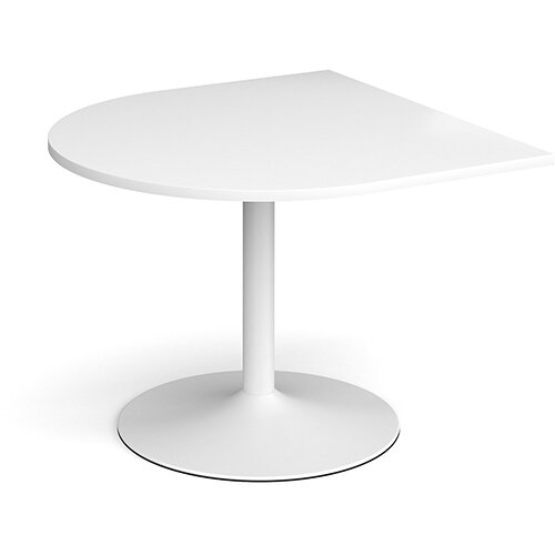 Trumpet Base Radial D-End Boardroom Table Extension 1000mm x 1000mm - White Base &White Top