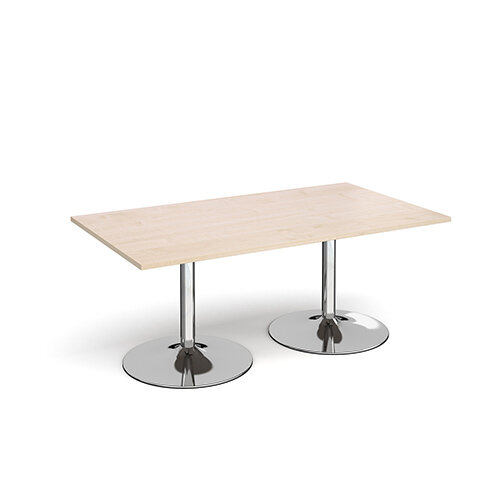 Trumpet Base Rectangular Boardroom Table 1800mm x 1000mm - Chrome Base &Maple Top