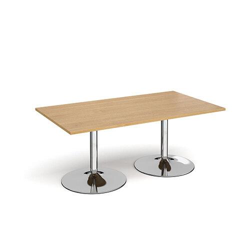 Trumpet Base Rectangular Boardroom Table 1800mm x 1000mm - Chrome Base &Oak Top
