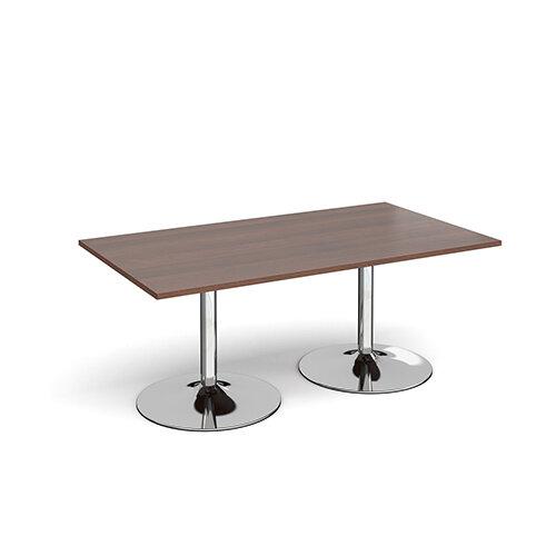 Trumpet Base Rectangular Boardroom Table 1800mm x 1000mm - Chrome Base &Walnut Top
