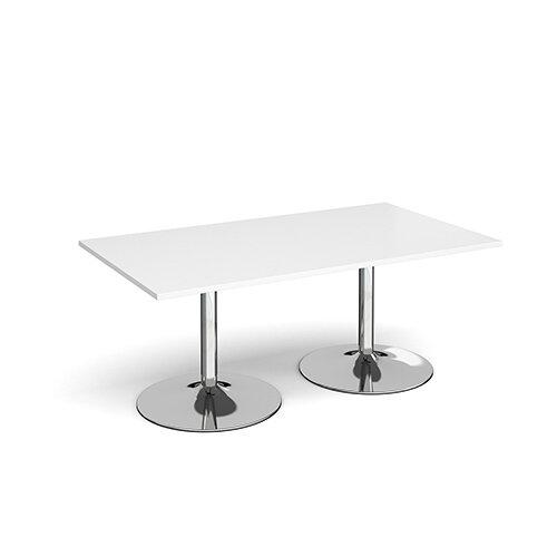Trumpet Base Rectangular Boardroom Table 1800mm x 1000mm - Chrome Base &White Top