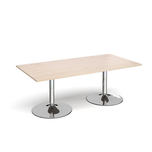 Trumpet Base Rectangular Boardroom Table 2000mm x 1000mm - Chrome Base &Maple Top