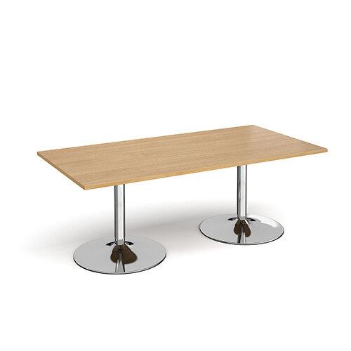 Trumpet Base Rectangular Boardroom Table 2000mm x 1000mm - Chrome Base &Oak Top