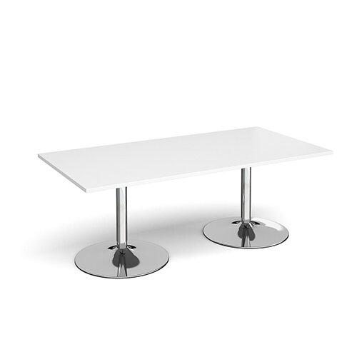 Trumpet Base Rectangular Boardroom Table 2000mm x 1000mm - Chrome Base &White Top