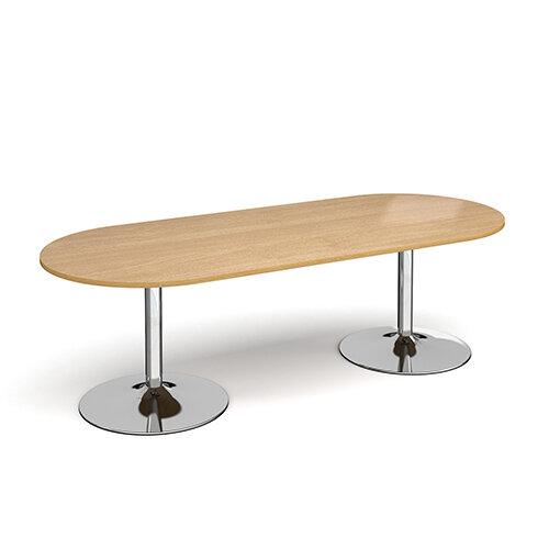 Trumpet Base Radial D-End Boardroom Table 2400mm x 1000mm - Chrome Base &Oak Top
