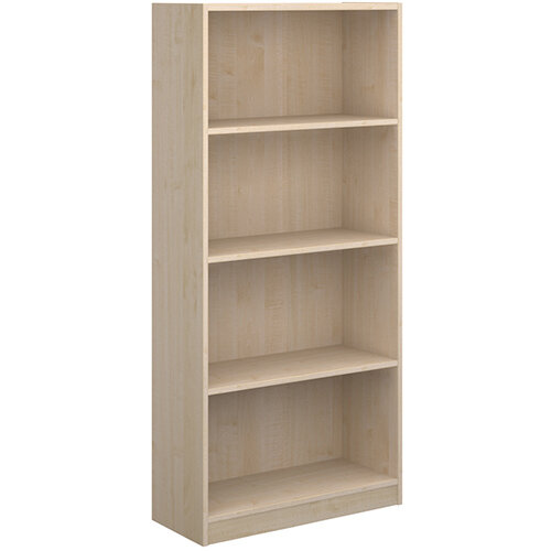 Economy bookcase 1620mm high with 3 shelves - maple
