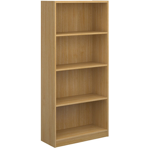 Economy bookcase 1620mm high with 3 shelves - oak