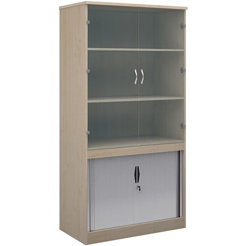 Systems combination unit with tambour doors and glass upper doors 2000mm high with 2 shelves - maple