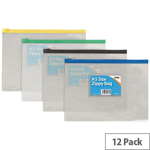 Sundry Clear Plastic A5 Coloured Zip Bags Pack of 12 300480