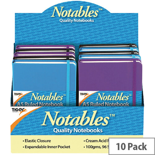Notables A5 Ruled Casebound Notebook 96 Sheets Assorted Pack of 10 301354