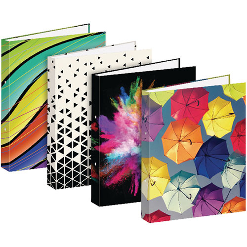 A4 Fashion Assorted 25mm Board 2 Ring Binder Pack of 12 301648