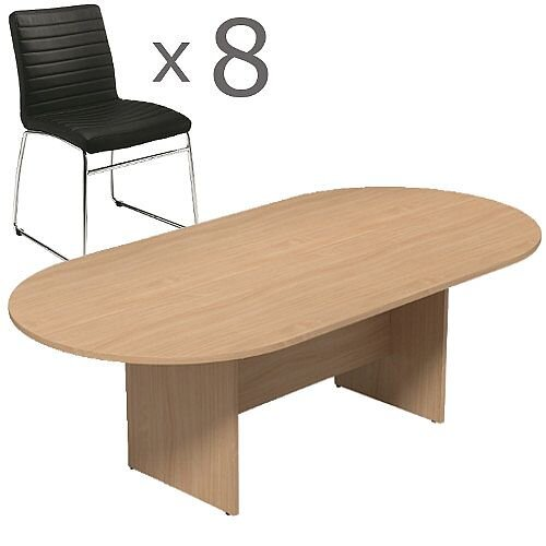 8 Person Boardroom Bundle - 2400mm Beech D-End Table &8 Black Leather Look Chairs