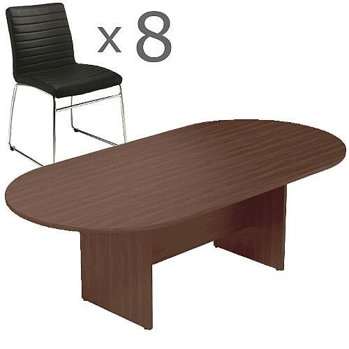 8 Person Boardroom Bundle - 2400mm Dark Walnut D-End Table &8 Black Leather Look Chairs