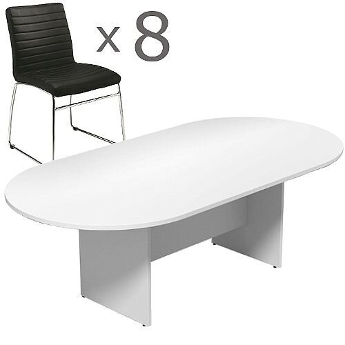 8 Person Boardroom Bundle - 2400mm White D-End Table &8 Black Leather Look Chairs