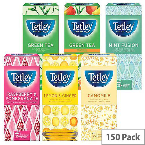 Tetley Fruit and Herbal Tea Starter Assorted Flavours Teabags Pack of 6 x 25 1581X