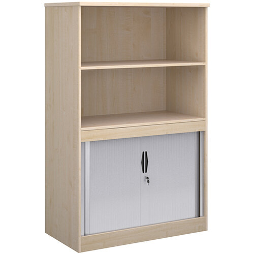 Systems combination unit with tambour doors and open top 1600mm high with 2 shelves - maple