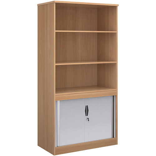 Systems combination unit with tambour doors and open top 2000mm high with 2 shelves - beech