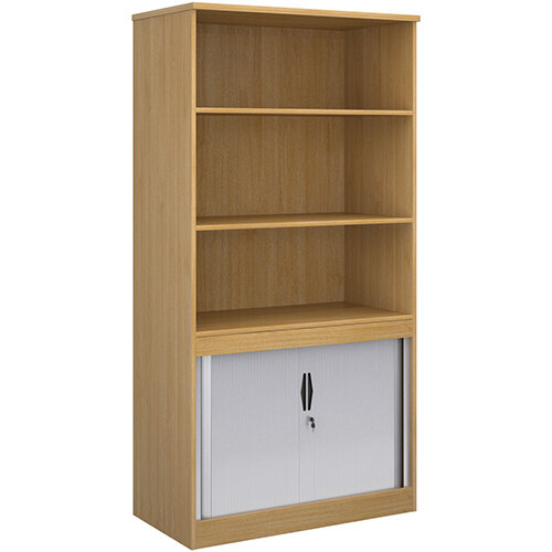 Systems combination unit with tambour doors and open top 2000mm high with 2 shelves - oak