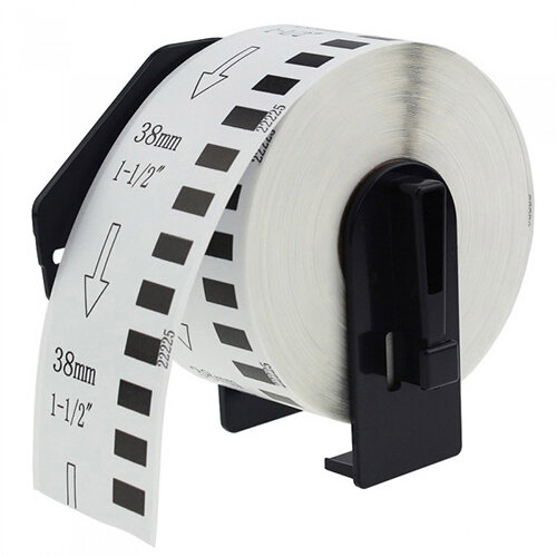 Compatible Brother DK22225 Black on White Labels 38mm x 30.48m Pack of 5