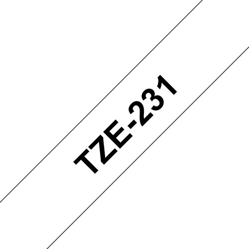Compatible Brother TZE231 12mm Black on White Label Tape 8m Pack of 5