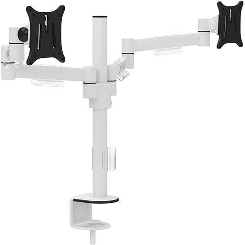 Leap M200 Double Monitor Arm - VESA Compatible, Durable Steel Construction, Ergonomic Streamline Design - Colour: White