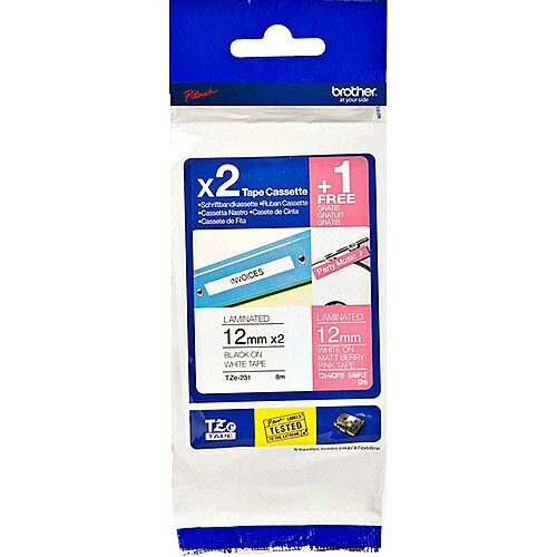 Brother TZe-32M3 Labelling Tape Multipack 2x Black on White Laminated Tape 12mm x 8m &FREE White on matt berry Pink fluorescent Laminated Tape 12mm x 2m