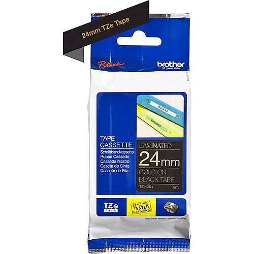 Brother TZe-354 24mm Gold on Black Standard Adhesive Laminated TZe Tape Cassette 8 Metres