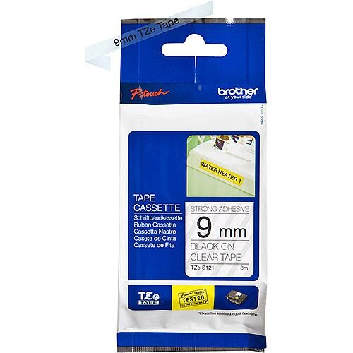 Brother TZe-S121 9mm Black on Clear Strong Adhesive Laminated TZe Tape Cassette 8 Metres