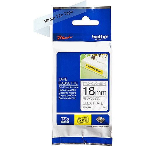 Brother TZe-S141 18mm Black on Clear Strong Adhesive Laminated TZe Tape Cassette 8 Metres