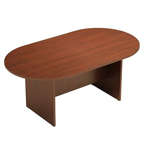 D-End Light Walnut Boardroom Table 1800mm Wide With Panel End Base