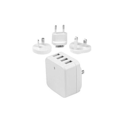 StarTech 4-Port USB Wall Charger International Travel Charger High Power 34 Watt / 6.8 Amp White 5 V DC Output Voltage 6.80 A Output Current USB4PACWH