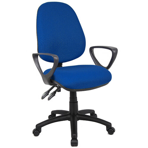 Vantage 100 2 lever PCB operators chair with fixed arms - blue