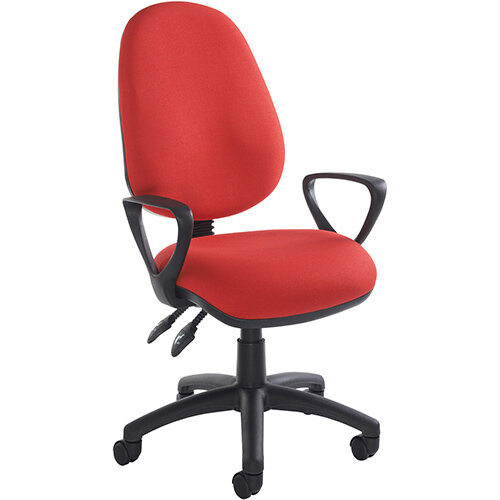 Vantage 100 2 lever PCB operators chair with fixed arms - red