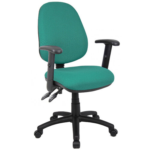 Vantage 100 2 lever PCB operators chair with adjustable arms - green