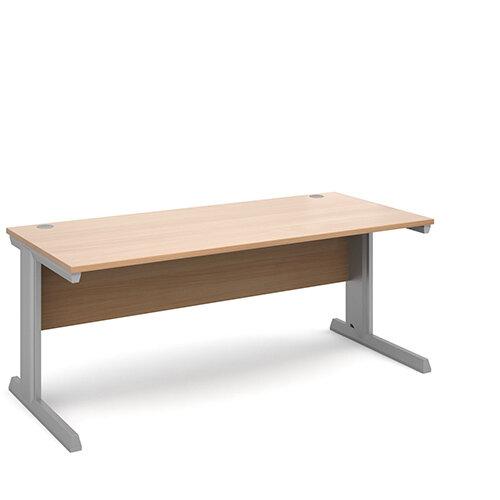Vivo straight desk 1800mm x 800mm - silver frame, beech top