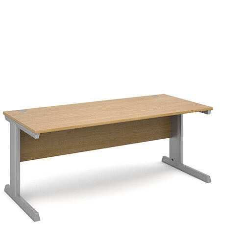 Vivo straight desk 1800mm x 800mm - silver frame, oak top