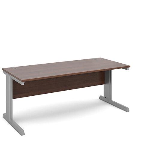 Vivo straight desk 1800mm x 800mm - silver frame, walnut top