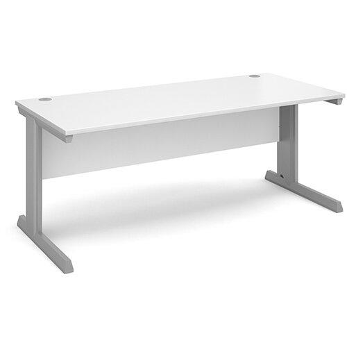 Vivo straight desk 1800mm x 800mm - silver frame, white top