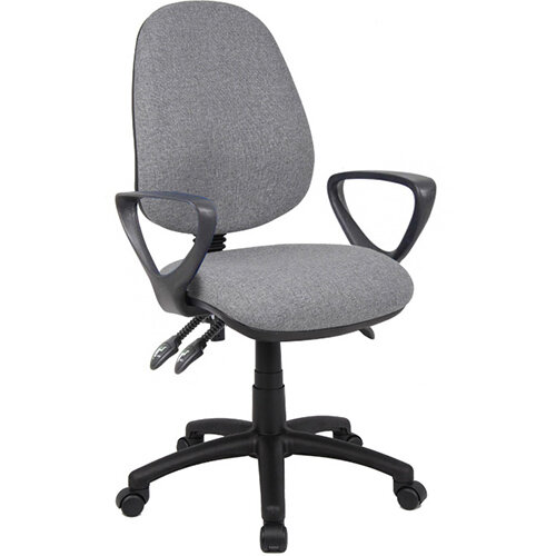 Vantage 200 3 lever asynchro operators chair with fixed arms - grey