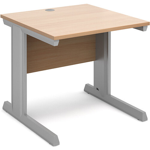Vivo straight desk 800mm x 800mm - silver frame, beech top