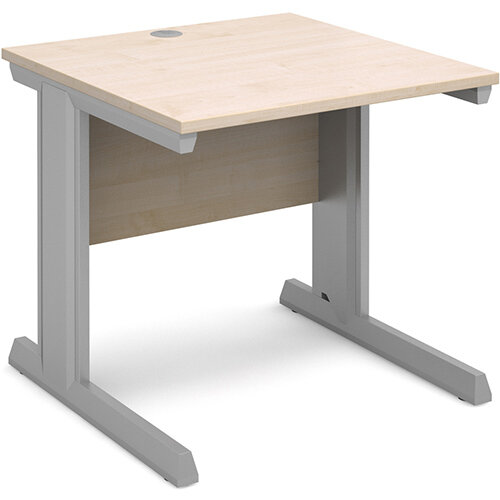 Vivo straight desk 800mm x 800mm - silver frame, maple top