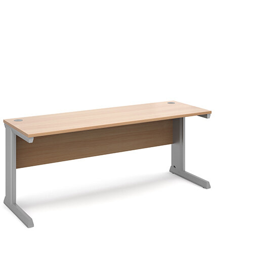 Vivo straight desk 1800mm x 600mm - silver frame, beech top