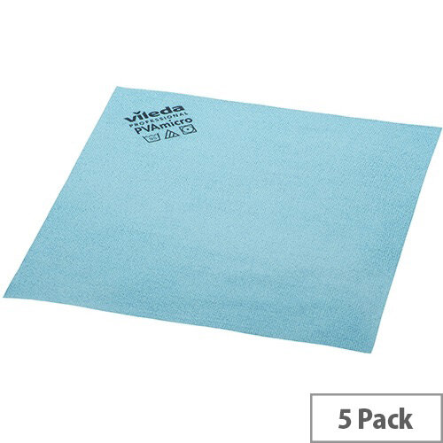 Vileda PVA Microfibre All Purpose Cleaning Cloths Blue Pack 5 143585