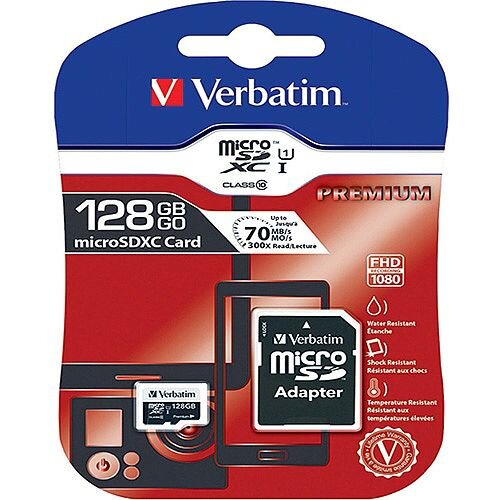 Verbatim Premium 128GB SDXC Micro Card With Adapter 44085