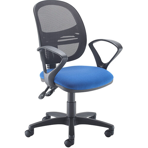 Vantage Mesh medium back operators chair with fixed arms - blue