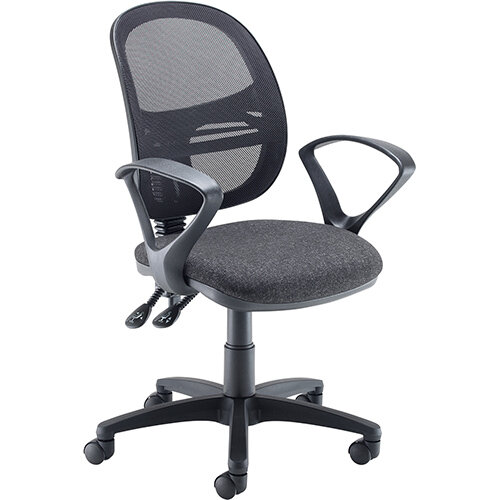 Vantage Mesh medium back operators chair with fixed arms - charcoal