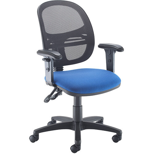 Vantage Mesh medium back operators chair with adjustable arms - blue