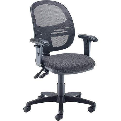 Vantage Mesh medium back operators chair with adjustable arms - charcoal