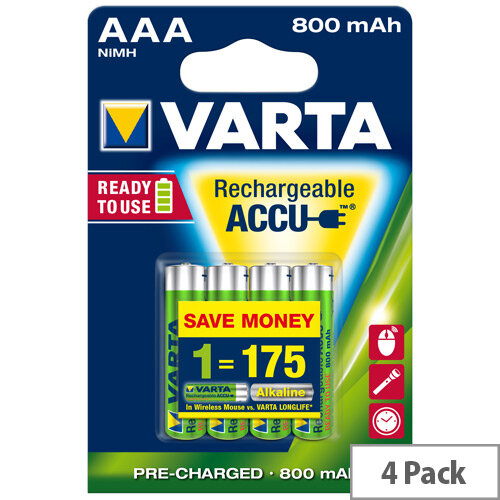 VARTA AAA Rechargeable Accu Battery NiMH 800 mAh (Pack of 4)