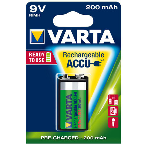 VARTA Rechargeable Battery 9V NiMH 200mAh (Pack of 1)